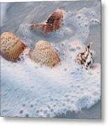Sea Shells In A Wave Of Foam Metal Print