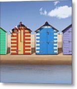 Seaside Beach Huts Metal Print