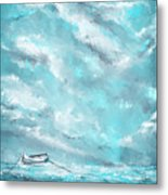 Sea Spirit - Teal And Gray Art Metal Print