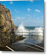Sea Spray At Mevagissey Harbour Metal Print