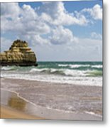 Sea Stack Sculpted Like A Ship Riding The Waves Metal Print