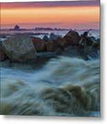 Sea Storm At Sunset Metal Print