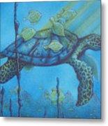 Sea Turtle And Fish Metal Print