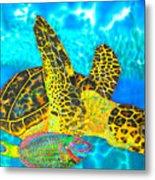 Sea Turtle And Parrotfish Metal Print