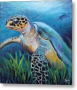 Sea Turtle Cove Metal Print