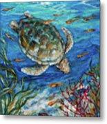 Sea Turtle Dive Metal Print