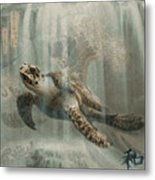 Sea Turtle Great Wave Metal Print