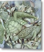 Sea Turtles Mum And Babe Metal Print