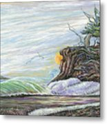 Sea Waves With Clouds And Gulls Metal Print