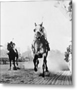 Seabiscuit Acrossing The Finish Line Metal Print