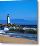 Seabright Beach Lighthouse With Surf Metal Print