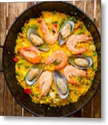 Seafood Paella  Metal Print