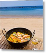Seafood Paella In Cafe Metal Print