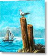 Seagull At Port Entrance Metal Print