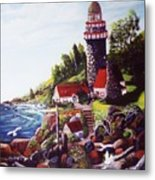 Seagull Cove And Lighthouse Metal Print
