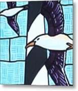 Seagulls And Lighthouse Metal Print