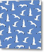 Seagulls Gathering At The Cricket Metal Print