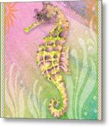 Seahorse Violet Metal Print