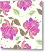 seamless   pattern of watercolor Fuchsia Flowers Metal Print