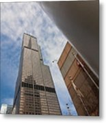 Sears Tower From Across The Street Metal Print