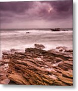 Seascape At The Coastline Of West France Metal Print