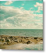 Seascape Cloudscape Retro Effect Metal Print