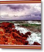 Seascape Scene On The Coast Of Cornwall L B With Alt. Decorative Ornate Printed Frame. Metal Print