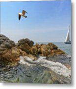 Seascape With A Yacht Metal Print