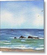 Seascape With Three Rocks Metal Print