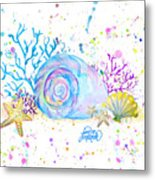 Seashells And Coral Watercolor Metal Print