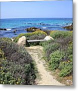 Seaside Bench Metal Print