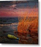 Seaside Bottle At Sunset Metal Print