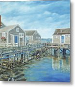 Seaside Cottages Metal Print