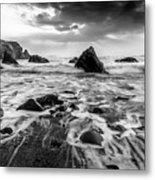 Seaside B/w  Metal Print