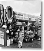 Seaside Souvenir Gift Shop On A Cold Rainy Overcast British Summer North Wales Uk Metal Print