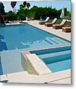 Seaside Swimming Pool As A Silk Screen Image Metal Print