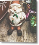 Seasons Greeting Santa Metal Print