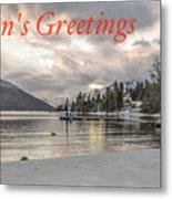 Season's Greetings- Cabin On The Lake Metal Print