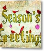 Season's Greetings Card Metal Print