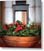 Seasons Greetings Christmas Centerpiece Metal Print
