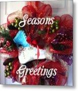 Seasons Greetings Old Skate Metal Print