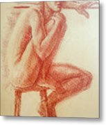 Seated At The Barre Metal Print
