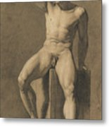 Seated Male Nude Metal Print