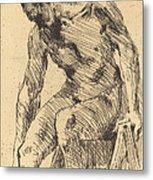 Seated Male Nude (sitzender M?nnlicher Akt) Metal Print