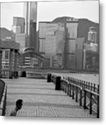 Seated Man Practicing Yoga With View Of Skyline In The Background Metal Print by Sami Sarkis