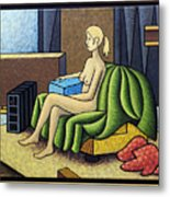 Seated Nude With Red Robe-framed Metal Print