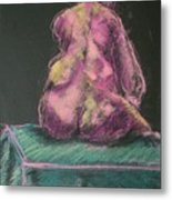 Seated Pink Nude Metal Print