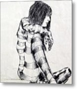 Seated Striped Nude Metal Print