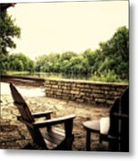 Seating For Two By The Creek Metal Print