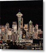 Seattle A Glow Metal Print